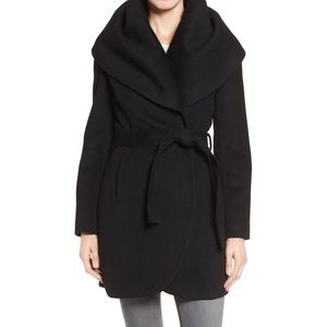 T Tahari • Marla Wool Wrap Coat Black